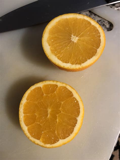 A cross section of two different oranges off my tree