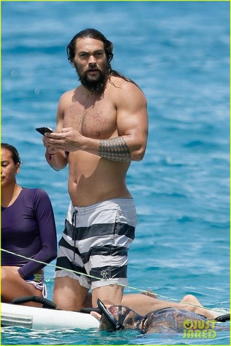Shirtless Jason Momoa Tosses Phone Into the Sea & Dives In