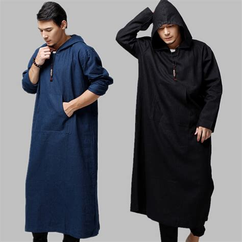 Arabic Robe Men Cotton Linen Long Robes Hooded Chinese