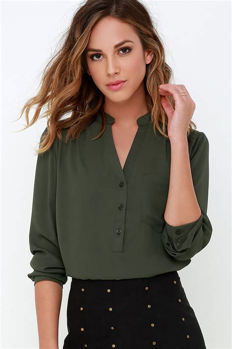 Cute Olive Green Top - Long Sleeve Top - Olive Green