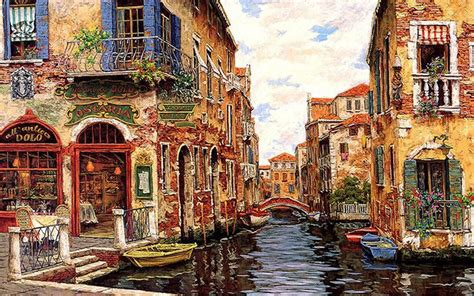 Wallpaper Tags: canal cityscape art scenery wide screen